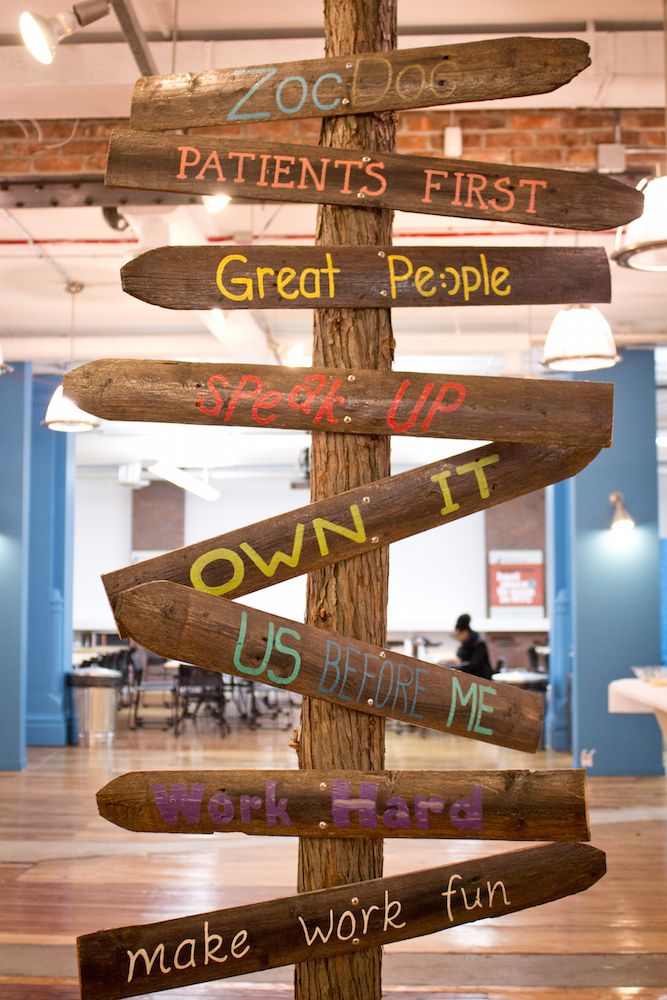 ZocDoc's value tree reminds employees and visitors of the company's core beliefs.