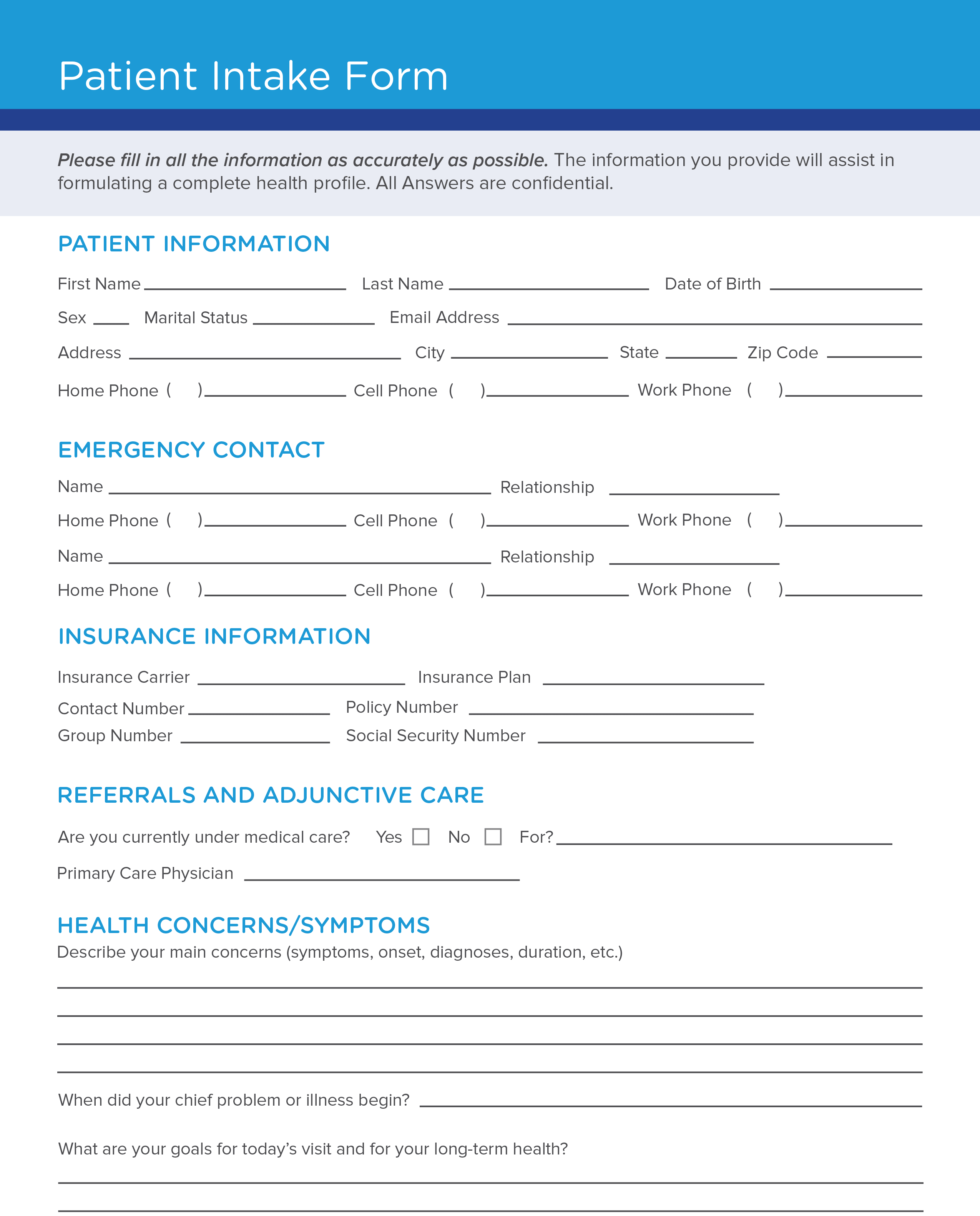 Free Patient Intake Form Template Carecloud Continuum