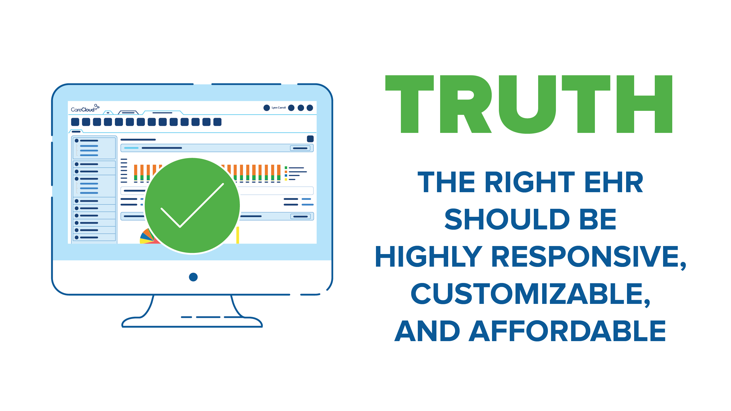 graphic showing that the right EHR is affordable and customizable