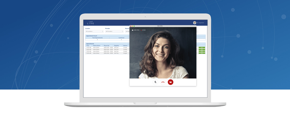 Images of telehealth visit on a computer