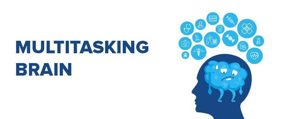 graphic of multitasking brain
