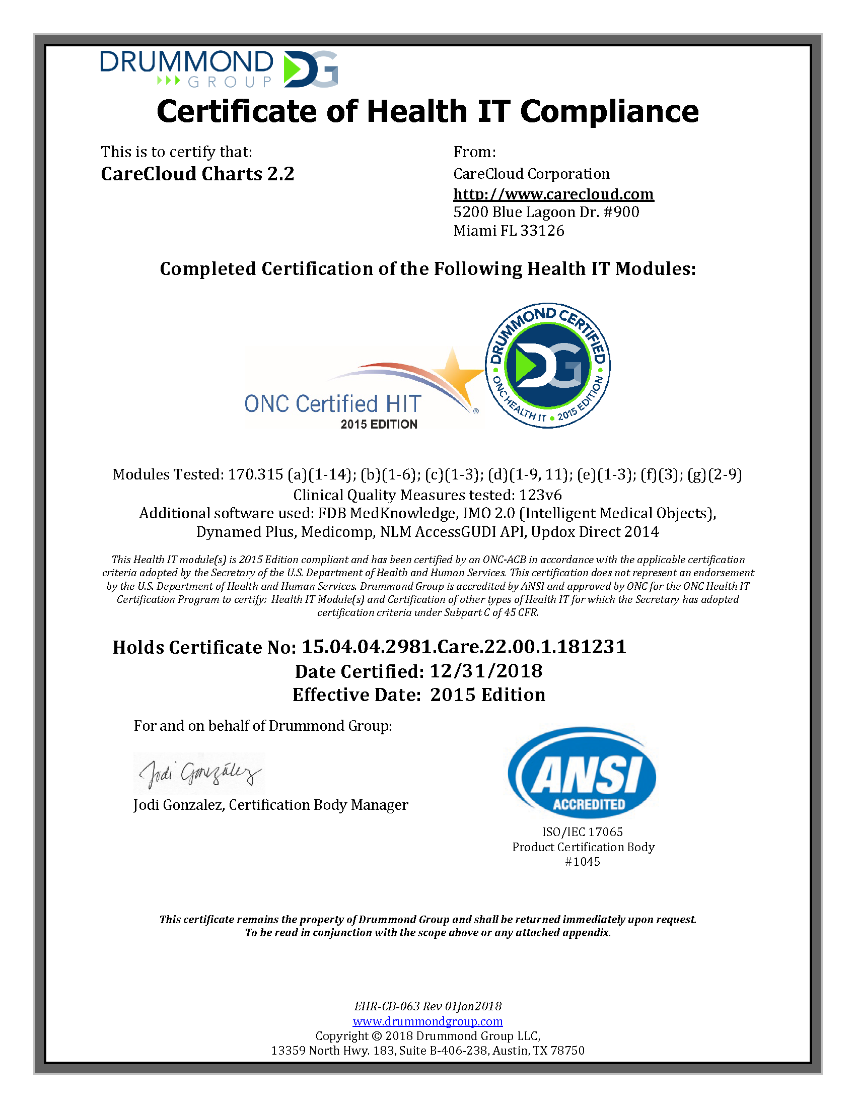 Drummond Group Certificate of Health IT Compliance