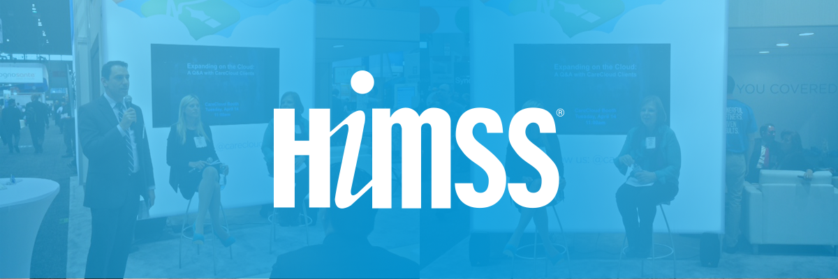 HIMSS logo and photos combined